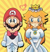 Mario and Princess Peach by ItEqualsLove