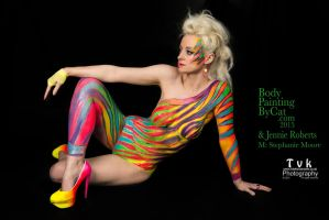 Urban Jungle neon zebra on Steph retro 80s bodyart by Bodypaintingbycatdot