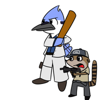 RS: L4D Modecai and Rigby by BuizelKnight