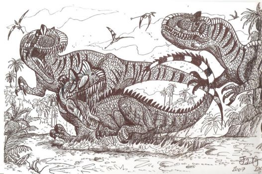 Old Draw: Ceratosaurus vs Allosaurus! by HodariNundu