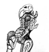 Pregnant space jockey and girl by BioGear