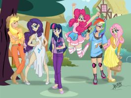 My Little Pony Humanized Wallpaper by LaurentChokobita