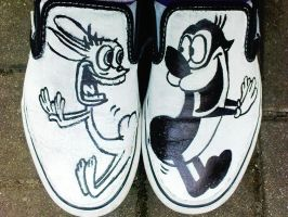 ren and stimpy shoes by x-anomalie-x