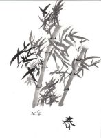 Chinese water color bamboo by Doub1ehe1ix