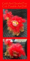 Gold and Scarlet Foo Cub Posable Art Doll by Eviecats