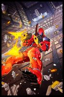 Deadpool gunning down by ChekydotStudio