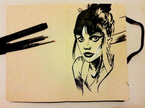 Third Drawing -Zooey Deschanel by e-laboy