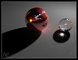 Red Billiard with crystal. by Petieng