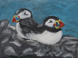 two puffins the painting by kk20152d