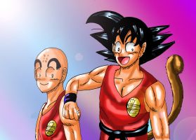 Kuririn and Goku: Best Friends Forever by YamchaFan91