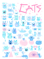 Cats - Bubble Gum and Bubbles - Poster - Verbs by lyssagal
