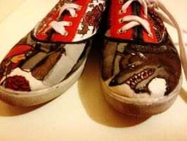 Customized Red Riding Hood shoes by SabastionLover