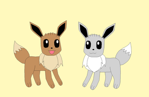Eevee and Silver by Kitsune257