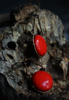 Red sun - wire wrapped earrings by Altawista