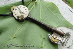 Clock Face Steampunk Key Pendant by TheClockworkCrow