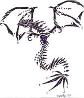 Tribal Wyrm - Black and Purple by dragonmasterx10