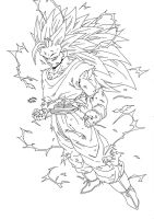 Dragonball Z - Regreso Goku Super Sayan 3 Lineart by TriiGuN