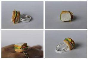Polymer clay ham sandwich ring by ChroniclesOfKate