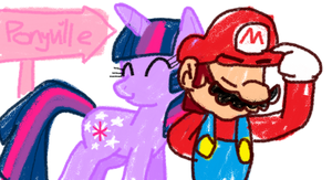 Twilight and Mario by HeartinaThePony