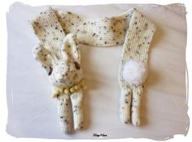 Vegan Cream Bunny Scarf by Cateaclysmic