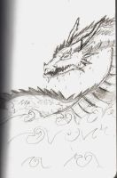 Water dragon sketch by Alexias-Ashley
