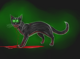 Hollyleaf as a necromancer cat by Suomen-Ukonilma