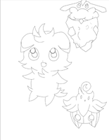 Espurr Pumpkaboo And Carbink (lineart) by leafyloo