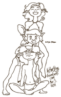 Elf kids uncolored by NetherStray