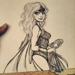 pen and ink wonderful woman  by oasiswinds