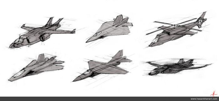 Freehand Technical Drawings - Jets by HasanKhanArt
