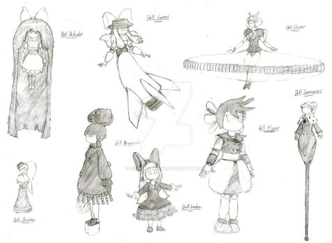 Doll Drawings - Batch #1 by GoldenArpeggio