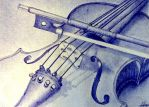 Violin pen drawing by zhav0rsa