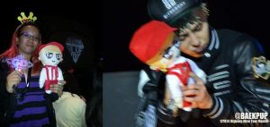 GDRAGON HOLDING THE CHIBI DOLL I MADE HAPPINESS by prinsesaian