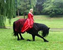 Friesian bowing with rider by LarissaAllen