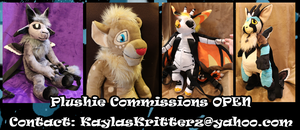 Plushie and Plushie Backpack commissions are OPEN by BlueWolfCheetah