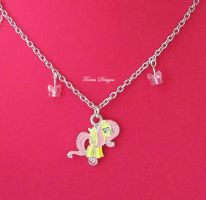 FlutterShy Necklace Custom with Swarovski Crystals by TorresDesigns