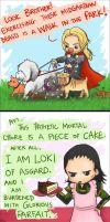 thor and loki pun battle by LittleOrangeBandaid