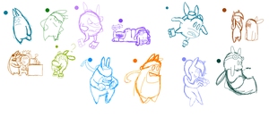Even more sketches for De Blob by LadyKotohime