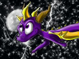 Spyro - Stary , beatiful sky by IcelectricSpyro