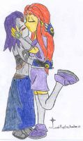 Starfire and Raven kissing by LordRycheAvalon