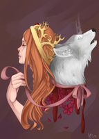 Sansa and Lady by Keirya