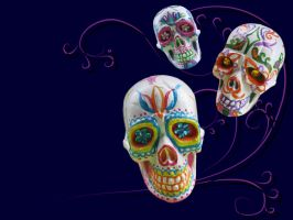 3d Sugar Skulls wallpaper by Myrcury-Art