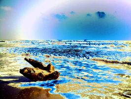 BLue and Yellow Beach by rocker409