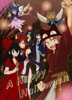 Makala and Fairy tail crew (halloween collab) by animelover1016