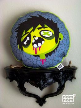 Decapitated Zombie Dude Pillow by junkyard-king