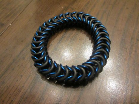 Blue Stretchy Box Weave Bracelet by BradsCC