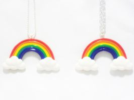 Super Cute Rainbow with Clouds Necklace by SaphirazlilJewels