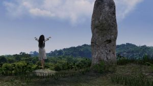 Woman in White at Ancient Site by eposic