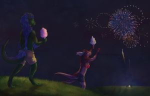 Cottoncandy offering to the fireworks gods! by Kium