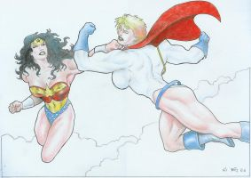 Powergirl vs. Wonder Woman pinup by Yatz by zefly88